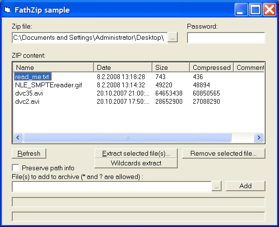 FathZIP is a high-performance data compression COM component for Windows developers. It provides your applications with the capability to create and manipulate industry-standard zip files.